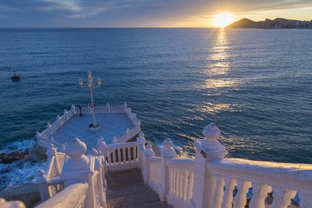 balustrade: Benidorm balcon del Mediterraneo and sea from white balustrade Alicante Spain Stock Photo