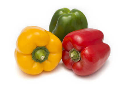 miscellaneous: Miscellaneous colored peppers isolated over white