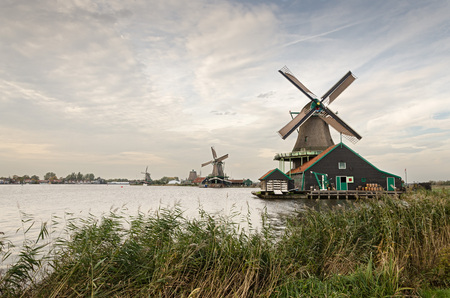 zaanse: Traditional Dutch windmills at Zaanse Schans. Vintage look