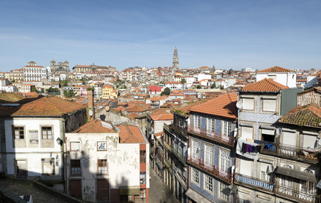 apartment tower old town: Oporto city, Portugal. Stock Photo