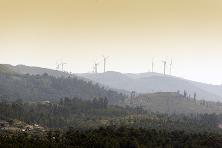 electrical power: Electrical Power Generating Wind Turbines on  Hills