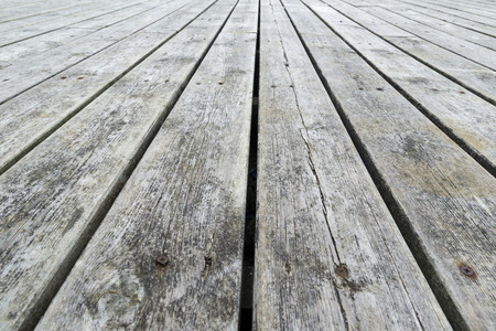 vanish: Floor wooden slats for outdoor use with copy space Stock Photo