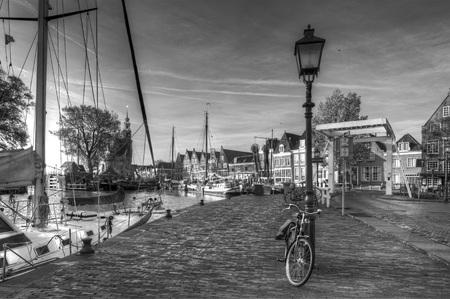 hoorn: Harbour in Hoorn, Netherlands. black and white