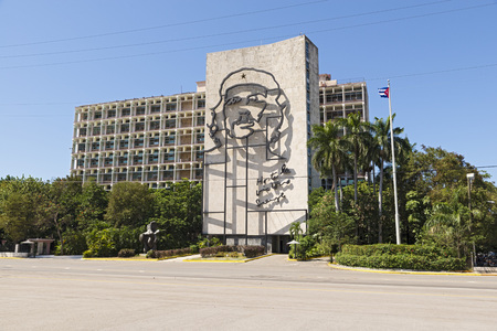 che guevara: Ministery on Plaza de Revolution, with the iron face of Che Guevara