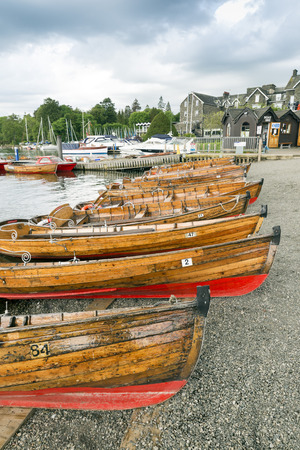 lake district: rowing boats on Lake Windermere, Lake District, UK