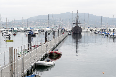 pinta: replica of the ship La Pinta, who sailed on the first voyage of Christopher Columbus to America. Bayona, Spain