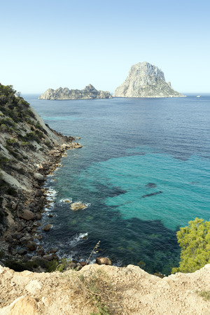 vedra: Ibiza Es Vedra and Vedranell from coast Stock Photo