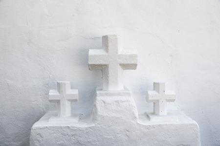 santas village: Architectural detail of the church of Santa Eulalia del Rio, Ibiza