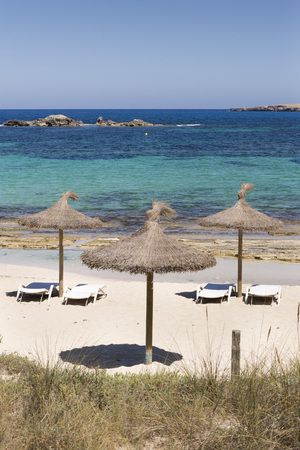 pujols: tropical beach with some straw umbrellas in Formentera, Stock Photo