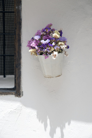 vase plaster: White pot with dried flowers on a wall of Ibiza Stock Photo