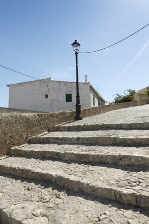 whitewashed: A typical corner of the old town of Ibiza, with its steep streets and whitewashed houses
