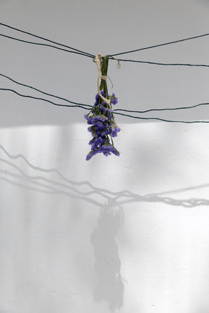 corsage: bouquet of dried flowers hanging on a rope
