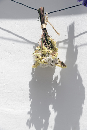 nosegay: bouquet of dried flowers hanging on a rope
