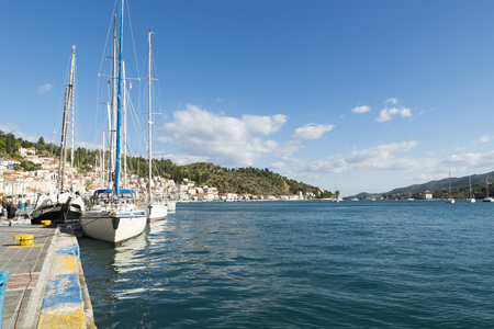 poros: POROS, GREECE-OCTOBER 25, 2015:  Marina of Poros, is a Greek island in southern part of Saronic Gulf. It is a popular weekend destination for Athenian travellers.