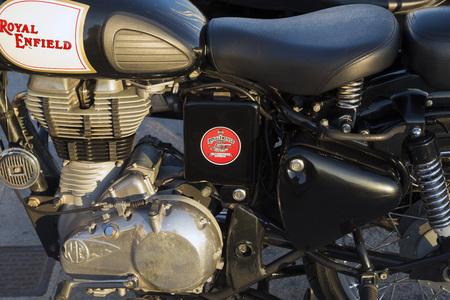 enfield: AEGINA, GREECE - OCTOBER 25, 2015: Old British Royal Enfield motorcycle