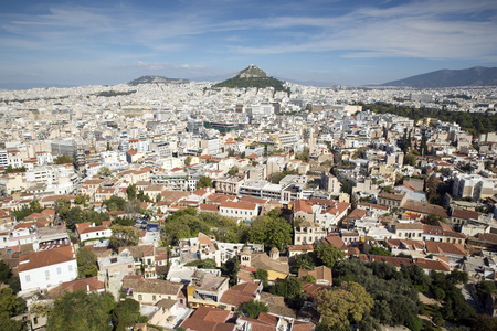overpopulation: View of Athens from the Acropolis in the background is Lecabetus Hill Also known as Lykabettos or Lykavittos Stock Photo