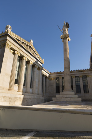neoclassic: Academy of Athens, on the sides of which are two Ionic columns with statues of Athena and Apollo