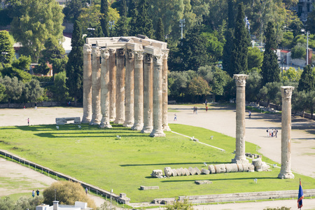 olympian: Temple of the Olympian Zeus at Athens, Greece - view from Acropolis