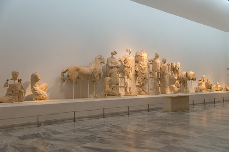 pediment: OLYMPIA, GREECE - OCTOBER 29, 2015: Archaeological Museum of Olympia. The sculptured ornaments from the Temple of Zeus.