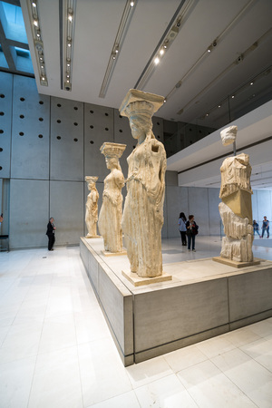 caryatids: ATHENS, GREECE - OCTOBER 26, 2015: Interior view of the Acropolis Museum entrance with crowd of visitors. Editorial