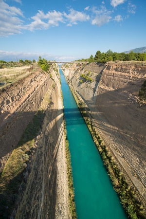 seaway: Corinth canal, Greece. Deepest, oldest and longest handmade canal Stock Photo