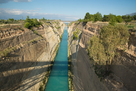 the deepest: Corinth canal, Greece. Deepest, oldest and longest handmade canal Stock Photo