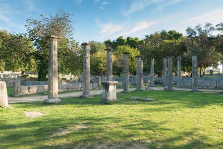 greece: Ruins of Olympia in Greece-Peloponnese Stock Photo