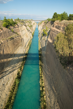 the deepest: Corinth canal, Greece. Deepest, oldest and longest handmade canal Foto de archivo