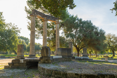 alexander great: Greece Olympia, ancient ruins of the important Philippeion in Olympia