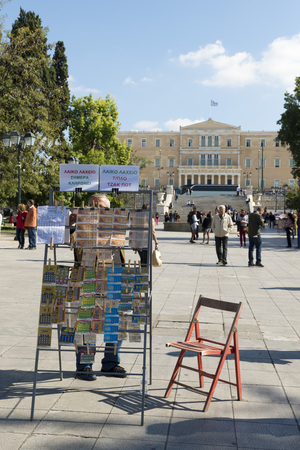 syntagma: ATHENS, GREECE - OCTOBER 27, 2015:  Peddling lottery in Syntagma Square