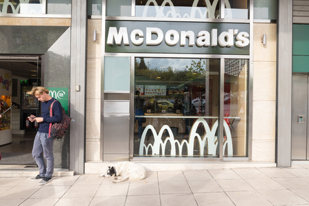 negligence: ATHENS, GREECE - OCTOBER 27, 2015: ATHENS, GREECE - OCTOBER 27, 2015: Stray dog at the door of a restaurant Mc Donalds. In Athens there are many stray dogs Editorial