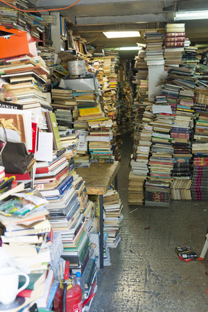 secondhand: ATHENS, GREECE - OCTOBER 27, 2015: secondhand bookstore crammed with books in the Greek Plaka