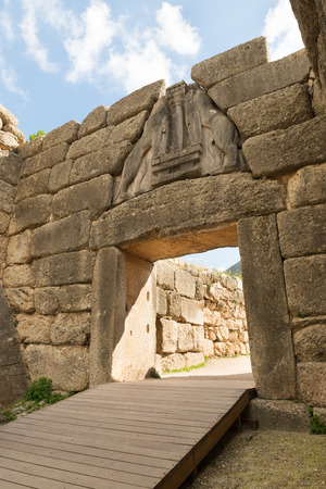 archaeological sites: The Lion Gate. The archaeological sites of Mycenae and Tiryns have been inscribed upon the World Heritage List of UNESCO Stock Photo