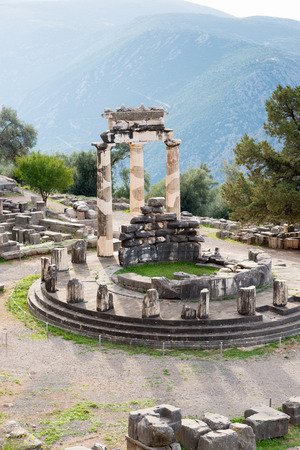 inscribed: The archaeological site of Delphi has been inscribed upon the the World Heritage List of UNESCO. The Tholos Stock Photo