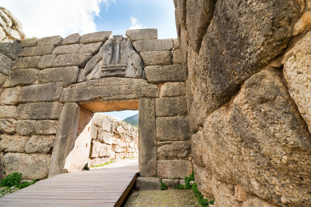 inscribed: The Lion Gate. The archaeological sites of Mycenae and Tiryns have been inscribed upon the World Heritage List of UNESCO Stock Photo