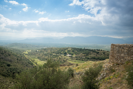 remoteness: Greek countryside landscape from the archaeological site of Mycenae and Tiryns