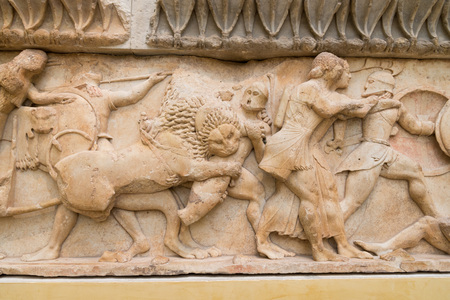 delphi: DELPHI, GREECE - OCTOBER 30, 2015: Delphi Archaeological Museum, Part of one of the friezes of the Siphnian Treasury