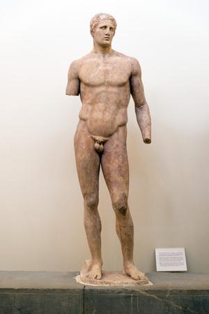 delphi: DELPHI, GREECE - OCTOBER 30, 2015: Delphi Archaeological Museum. Statue of Agias of Pharsala