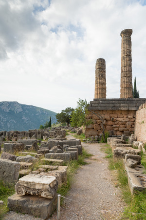 delphi: The archaeological site of Delphi has been inscribed . The ruins of the Temple of Apollo Stock Photo