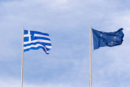 european union flag: Greek flag and European Union flag