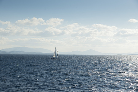 aegean sea: sailboat sailing ship in the Aegean sea.