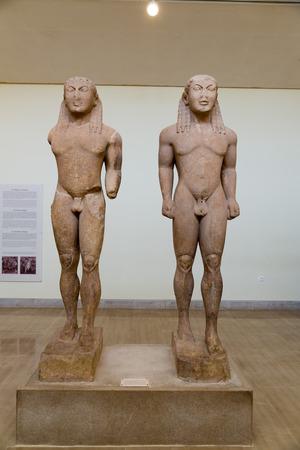 archaeological: DELPHI, GREECE - OCTOBER 30, 2015: Delphi Archaeological Museum. Kouros, Kleobis and Biton Editorial