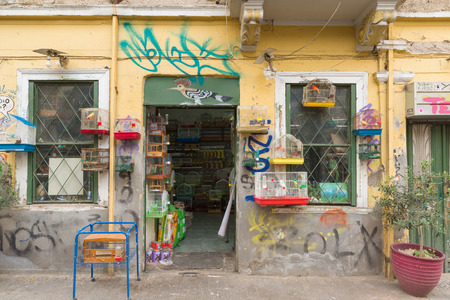 pet store: ATHENS, GREECE - OCTOBER 31, 2015: A pet store, preferably birds in the Plaka