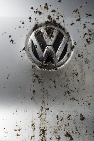 bedraggled: MADRID, SPAIN - SEPTEMBER 29, 2015: Logo bedraggled a Volkswagen Tiguan TDI