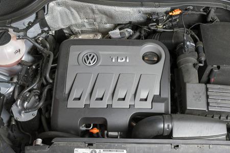 diesel engine: MADRID, SPAIN - SEPTEMBER 28, 2015: Engine of a Volkswagen Tiguan. diesel fuel Editorial