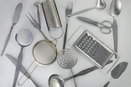 cookware: utensilios de cocina de acero inoxidable Foto de archivo