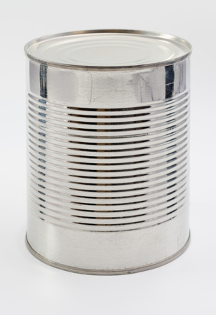 no label: A mysterious can, with no label, isolated on a white background. Stock Photo