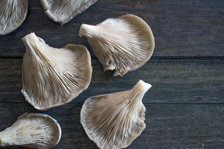 basidiomycete: Mushrooms (Pleorotus ostreatus) on a rustic wooden table