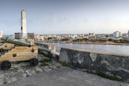 morter: Gun turrets in Fortaleza de San Carlos de la Cabana, in Havana, Cuba
