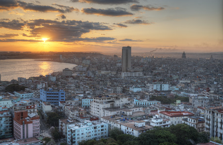 havana cuba: View of historic downtown of Havana, Cuba Stock Photo